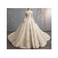Buy cheap Champagne Off Shoulder Long Tail Bridal Gown Generous Lace Beading Custom Size from wholesalers