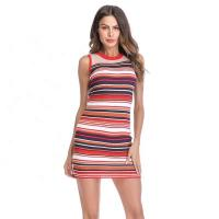 China Sleeveless Knit Vest Dresses / Women Color Matching Stripes Tight Pencil Bodycon Dress on sale