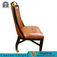 Wholesale Retro European Solid Wood Casino Poker Chairs With Soft Orange Leather Surface from china suppliers