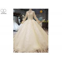 Wholesale Ivory Long Sleeve High Neck Bridal Gowns Backless Sweep Train Special Beaded Net from china suppliers