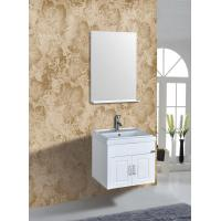 China PVC Vanity Cabinets Modern Square Bathroom Cabinet Sink Mirror 60cm / Basin on sale