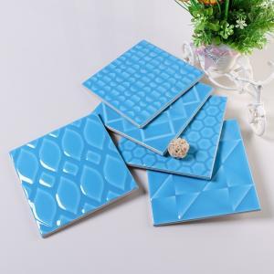 China Smooth Glazed Ceramic Wall Tiles Slip Resistance , Sky Blue Subway Tile 6 X 6 on sale