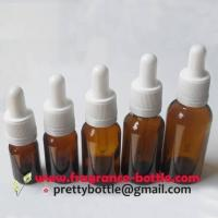 China amber boston round glass dropper bottle w/ tamper evident closures (PCAB004) on sale