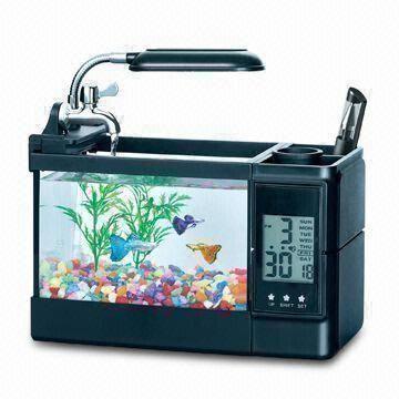 Gift aquarium set for children 39 s fish education made of for Fish tank desk