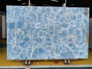 Wholesale Backlit Wall Panel Translucent Crystal Agate Stone Blue Marble Onyx Slab from china suppliers