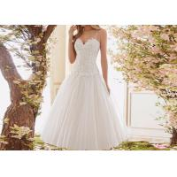 Wholesale Sling Short White Wedding Dresses Top Lace And Down Tulle Over Knee Ball Gown from china suppliers
