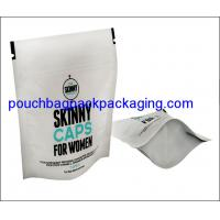 Wholesale Stand up pouch for women cap with zip lock, zipper doypack with white printing from china suppliers