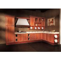 L shaped apartment solid wood kitchen cabinets antique red for Antique red kitchen cabinets
