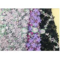 Wholesale 3D Flower Embroidered Stretch Mesh Fabric , Coloured Tulle Lace Fabric from china suppliers