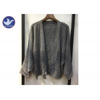 China Lightweight Lady Pointell Bat Sleeves Cardigan / Womens Knit Sweater Gray Color on sale