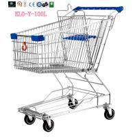 Wholesale Food Environmental Stainless Steel Metal Wire Shopping Trolley Carts 100L from china suppliers