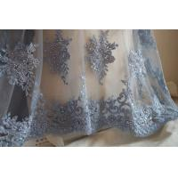 Wholesale Pale Blue Beaded Embroidered 3D Flower Lace Fabric By The Yard For Wedding Dress from china suppliers