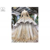 Wholesale Gold Tailor Made Prom Dresses / Long Sleeve Ball Gown Lace Beading Big Tail from china suppliers