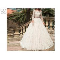 Wholesale White Lace Elegant Long Sleeve Wedding Dresses Beaded Belt Floor Length from china suppliers
