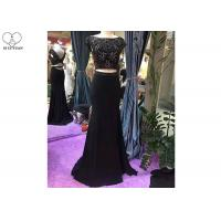 Wholesale Black 2 Piece Mermaid Style Prom Dress Short Sleeve Invisible Zipper Fishtail from china suppliers