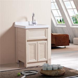 China Floor Mounted Bathroom Sinks And Vanities White / Brown / Cream Wooden Grain on sale