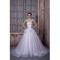 Wholesale Empire Strapless White Long Train Organza Wedding Gown With Beads from china suppliers
