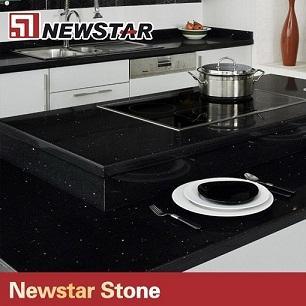 Quality black with mirror specks quartz bench top for sale