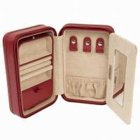 China Leather Jewelry Boxes, cardboard paper case wrapped with leather and zipper on sale