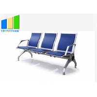 Wholesale Blue Aluminum Alloy PU Leather 5 Seaters Bank Airport Waiting Chairs from china suppliers