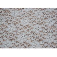 Wholesale Fashion Brushed White Lace Fabric Flower Shape , Stretchable 135cm Width CY-LQ0042 from china suppliers