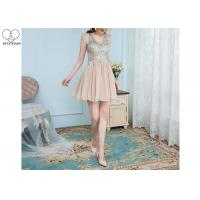 Wholesale Chiffon Nude Short Black Formal Dresses / Top Diamond Prom Dress Puffy Down Part from china suppliers