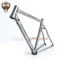 Wholesale Raw Color Titanium Road Bicycle Frames Frameset Tapered Headset Rustproof from china suppliers