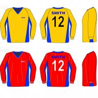 Football uniforms long sleeves adult size cool dry yellow red for sale