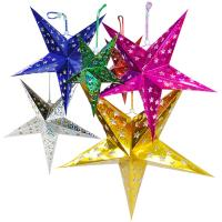 Wholesale 45CM Hanging Christmas Paper Star Lantern Pattern with Led Candle from china suppliers