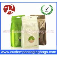 China Flat Bottom Foil Plastic Ziplock Bag For Tea , Stand Up Packaging Pouches With Window on sale