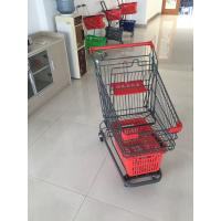 Wholesale Grey Powder Coating Grocery Trolley Cart , Large Capacity Shopping Trolley 4 Inch PU Casters from china suppliers