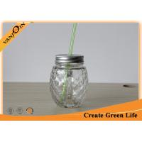 Professional 16 oz Pineapple Shape Clear Mason Glass Drinking Jars With Handle Manufactures