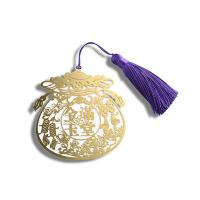 Wholesale Hollow Gold Metal Bookmark , Fancy Small Metal Bookmarks With Purple Tassel from china suppliers