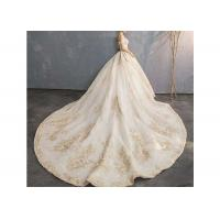 Wholesale Champagne Off Shoulder Long Tail Bridal Gown Generous Lace Beading Custom Size from china suppliers