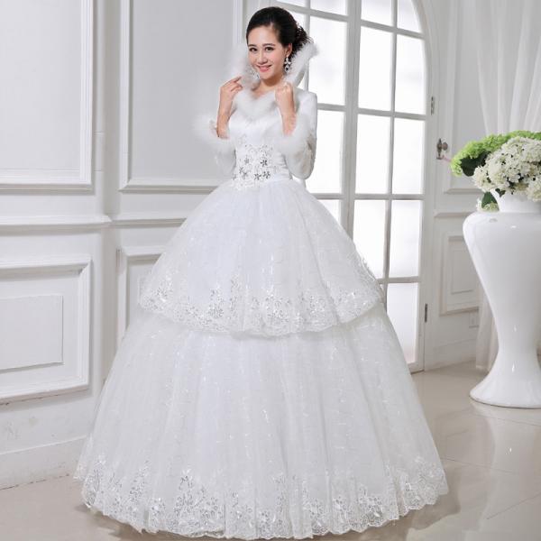 High grade slim winter white cotton wedding dresses for Slim white wedding dresses
