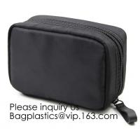 Wholesale Canvas Makeup Bag Ladies Clutch Bag With Gold Zipper,Dopp Case Striped Canvas Cosmetic Makeup Bag with leather handle from china suppliers