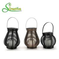 Wholesale Hanging Amorphous Silicon Solar Led Rattan Lantern , Round Rattan Candle Table Lanterns from china suppliers