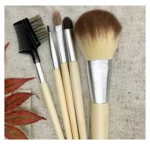 China 5 Pcs Beginner Cosmetic Brush Kit, Makeup Brush Set, Linan Bag, Bamboo Handle on sale