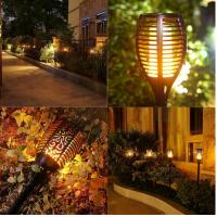 Wholesale Rechargeable Solar Powered Motion Sensor Light LED Flickering landscape Flame Torch from china suppliers