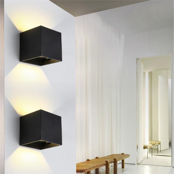 Adjustable Wall Lamp Bedroom : Square Wall Lamp Aluminum Angle Adjustable Wall Light Garden Lights for Outdoor Indoor Balcony ...