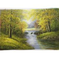 Wholesale Handmade Oil Painting Unframed Hand Made Painted Forest Landscape Pattern Canvas Green Color house decoration from china suppliers