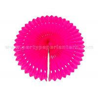 China Engraving Flower Hanging Paper Fans , Ivory  / Pink Paper Fan Party Decorations on sale