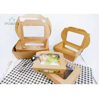 China Deli / Street Food Kraft Paper Take Out Boxes , Windowed Disposable Salad Boxes on sale