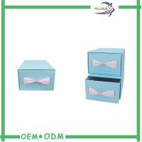 China Custom Sliding Paper Gift Boxes Blue / Brown Cardboard Paper Drawer Box on sale