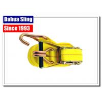 China Self Tightening Cargo Ratchet Straps Enclosed Trailer Tie Downs With Yellow Webbing on sale