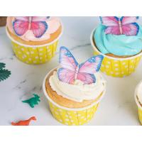 Wholesale Vivid Pink Edible Decorations Edible Butterfly Cupcake Toppers 0.60 - 0.65 MM from china suppliers