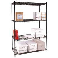 Wholesale Four Tier Office Storage Steel Wire Shelving / Black Metal Freestanding Rack from china suppliers