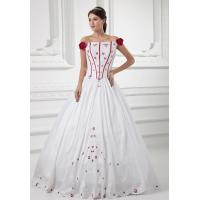 Princess Satin Ruffle Embroidered Flowers Empire Line Wedding Dresses , Off The Shoulder
