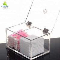 Wholesale Plastic Acrylic Cosmetic Display Flat Acrylic Makeup Cotton Storage Box from china suppliers