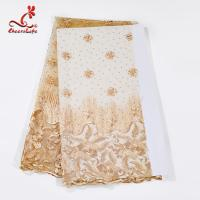 China African Multi color Tulle Mesh beaded Embroidery Lace Fabric For Dress on sale